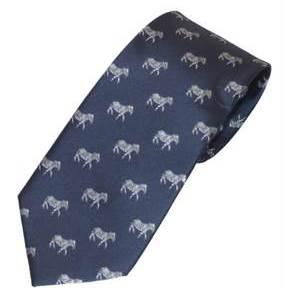 Mørkeblåt slips med zebraer i sølvfarve