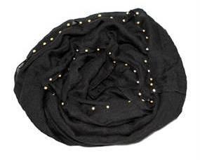 Sort tørklæde med perler online Smikka webshoppen