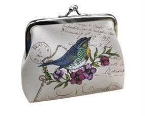 Hvid pung med smukt fuglemotiv