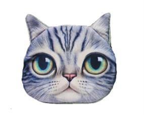 Lille grå pung med katteansigt.