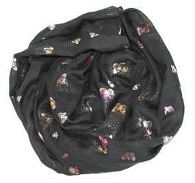 Smukt tørklæde i sort med små sommerfugle i metallook