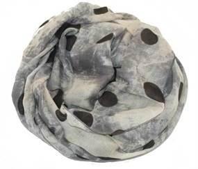 Batiktørklæde i grå med store sorte prikker online Smikka webshop