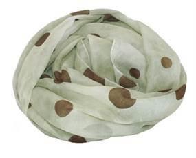 Grønt tørkæde i batikdesign med brune prikker