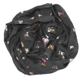 Sorte tørklæder med sommerfugle