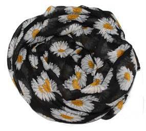 Tørklæde med margueritter. Sorte tørklæder store blomster design