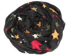 Tørklæde i sort med farvede stjerner