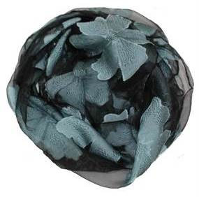 Tørklæder i sort med grå store blomster