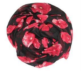Tørklæder i sort med store røde blomster