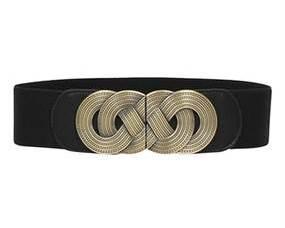 Bredt sort elastikbælte med stort spænde