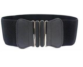 Bredt sort elastikbælte med sort spænde