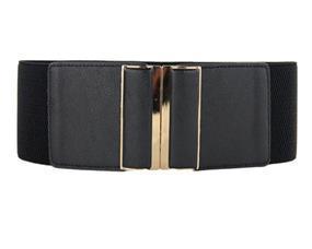Brede sorte elastikbælter med guldkant online Smikka webshop