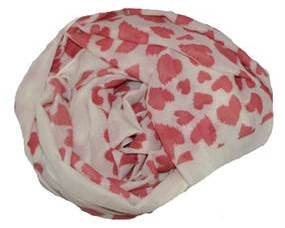 Hjertetørklæde i hvid og rød. Hvidt tørklæde med røde hjerter
