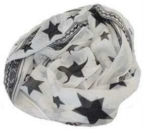 Tørklæde i hvid med mønster af stjerne og striber