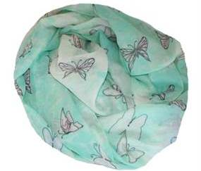 Lyst turkist tørklæde med sommerfuglemotiver