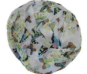 Let chiffontørklæde i hvid med sommerfuglemotiv