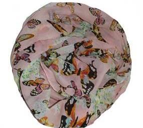 Chiffontørklæde med sommerfugle i lyserød