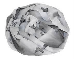 Tørklæde i grå og hvid med små sommerfugle