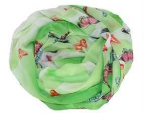 Grønt tørklæde med sommerfugle. Polyestertørklæde sommerfugledesign
