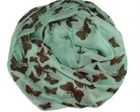 Sommerfugletørklæde i grøn med brune sommerfugle