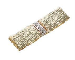 Bredt elastikbælte i guld med pailletter