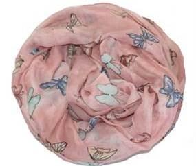 Lyserød tørklæde med sommerfugle i lyse farver