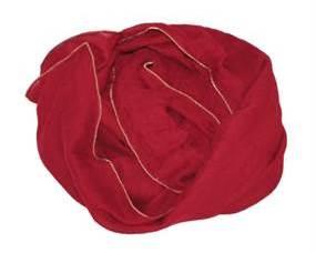 Tørklæde i mørkerød med guldkant
