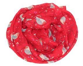 Tørklæder i rød med fugle motiver