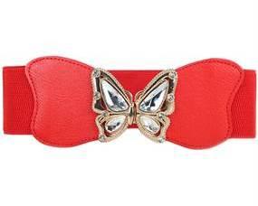 Bælte i rød med spænde designet som sommerfugl