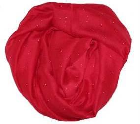 Tørklæde i rød med glitter og glimmer billigt online