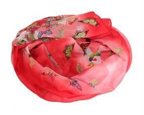 Polyester Tørklæde i rød med sommerfugle