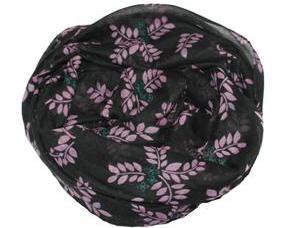 Sort tørklæde med lilla blomster