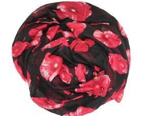 Sort tørklæde med røde blomster billigt online webshoppen Smikka