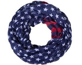 Tubetørklæde i blå med hvide stjerner og striber. USA tube tørklæde billigt online