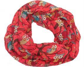 Rød tube tørklæde med ugler i smukke farver