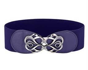 Bredt elastikbælte blå med ekstra længde og stort spænde
