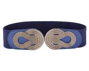 Elegant mørkeblå elastikbælte med bredt spænde