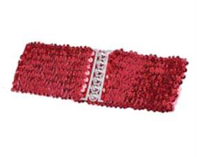 Bred elastikbælte rød pailletter