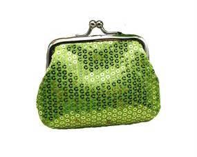 Lille grøn pung med pailletter. Accessories med pailletter online webshop Smikka