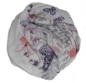Accessories med pailletter. Hvid tørklæde med sommerfugle og hvide pailletter