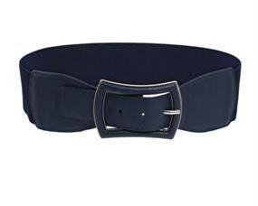 Mørkeblå elastikbælter med mørkeblå spænde