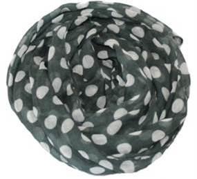 Gråt tørklæde med hvide polkaprikker online