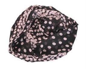 Tørklæde i sort med lyserøde prikker