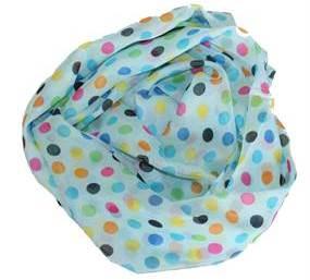 Tørklæde i turkis med prikker i mange farver billigt online Smikka
