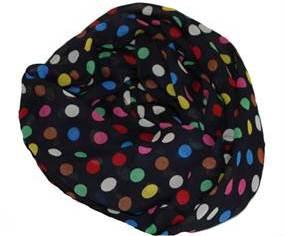 Sort tørklæde med polkaprikker i flotte farver