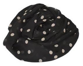 Sort tørklæde med polka prikker