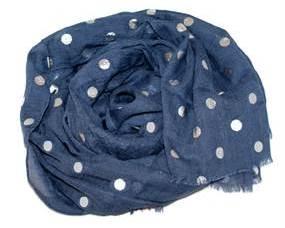 Mørkeblå tørklæde med sølv polkaprikker