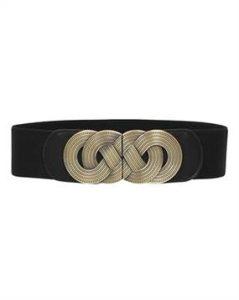 Køb flot sort elastikbælte med smukt detaljeret spænde