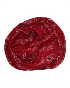 Tørklæde kor i rød med hvide noder. Bestil billigt online hos Smikka