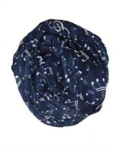 Tørklæder kor i mørkeblå med noder i hvid