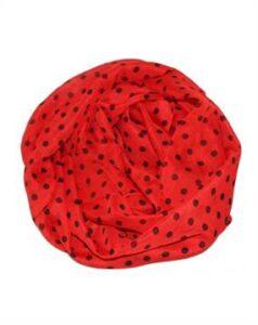 Let tørklæde kor i rød med sorte prikker